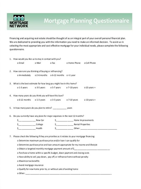 mortgage questionnaire forms 8 free documents in word pdf