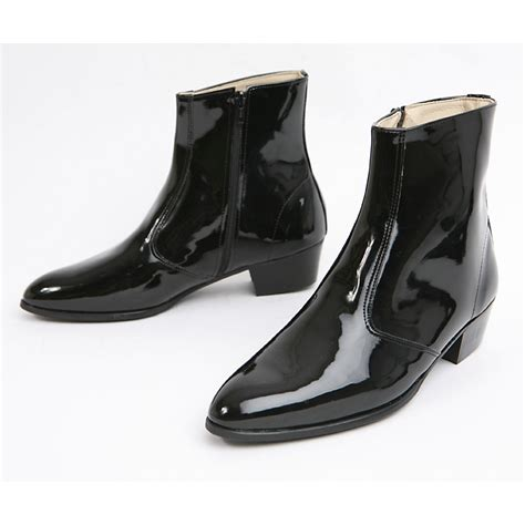 mens heel boots mens inner real leather western glossy black side zip high