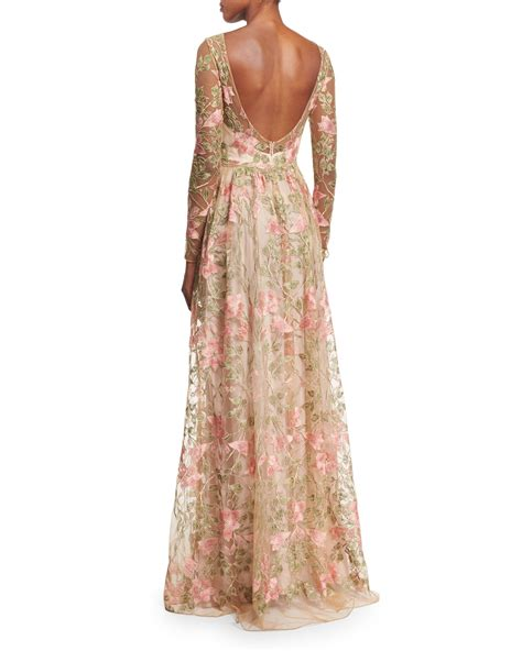 lyst notte by marchesa floral embroidered gown
