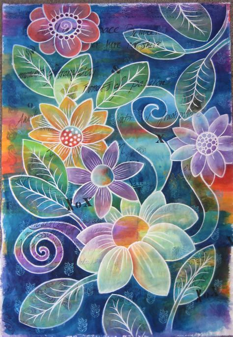 make flower painting black and bloom all judy coates perez