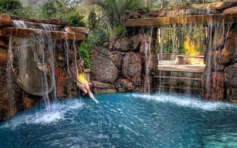 pool designs with waterfalls backyard pool waterfalls fire pit and slide swimming pool