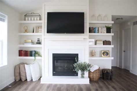 fireplace  built  shelves white home inspo