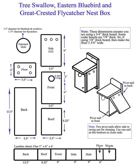 Bluebird House Plan Bluebird Nest Box Plan Nest Box Tips Erect Boxes In Large Open Areas Such As Fields Or Farmland