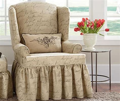 wing armchair covers sure fit pen pal by waverly wing chair slipcover chairs