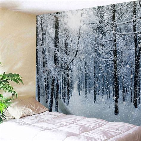how to make a cheap snow blancket 69 2019 snow forest print tapestry wall hanging decoration rosegal