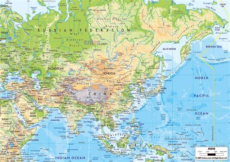 asia map with cities large physical map of asia with major roads and major