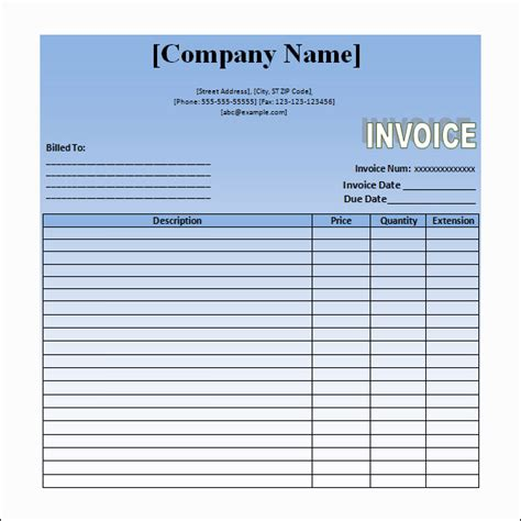 render template word invoice sle 11 documents in word