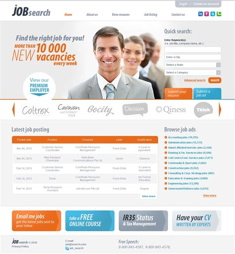 blogger templates for job portal job portal website template 28883