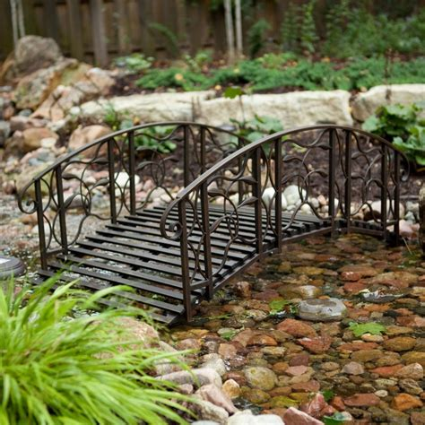 metal garden bridge outdoor black 4 foot steel backyard lawn pond landscaping bridges