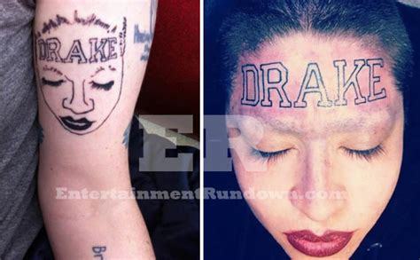 does drake have tattoos someone tattoos with forehead on
