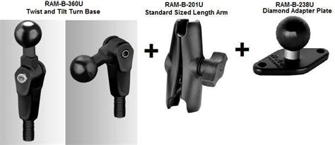 ram mount parts ram b 181u motorcycle twist and tilt mirror base and