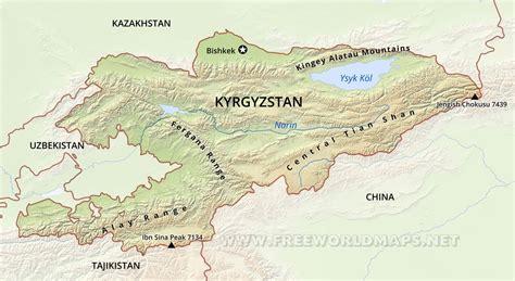 kyrgyzstan map kyrgyzstan physical map