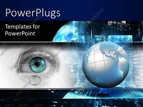 Powerpoint Template Technology Theme With 3d Globe And Eye Scanning Black Color 529 Powerpoint Template About Technology