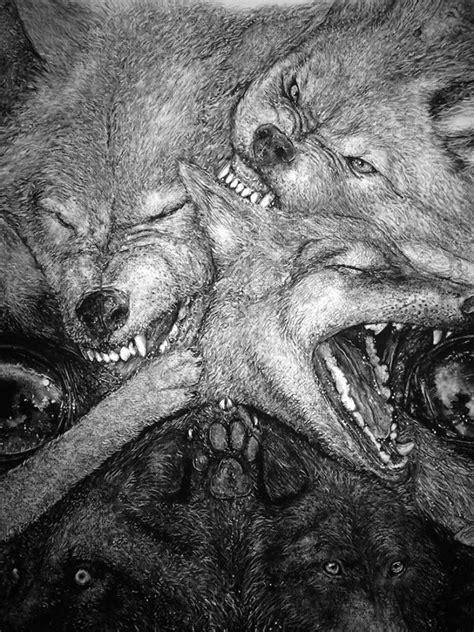 wolf pug artist liam gerrard draws animal portraits consisting of smaller animals
