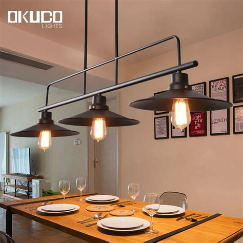 Retro Kitchen Lighting 3 L Holder Vintage Pendant Lights Black Iron L Shade For Kitchen Industrial Retro Light