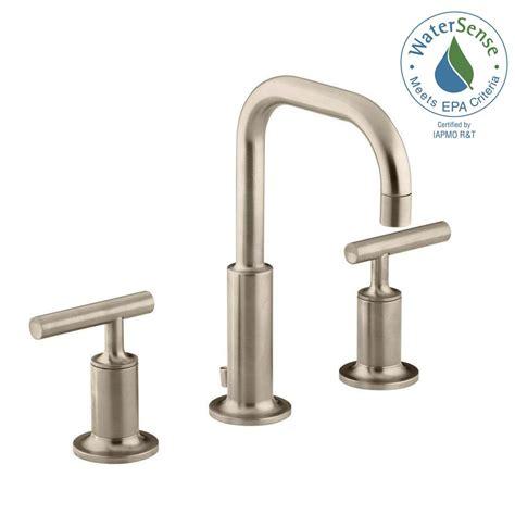 brushed bronze bathroom faucets kohler purist low arc bathroom faucet brushed bronze