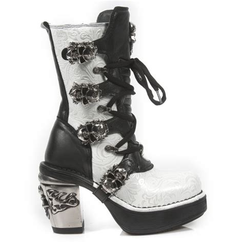 Sp Boot Flower White new rock nrk skull m 8366 s5 silver vintage white flower