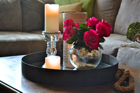 coffee table centerpiece tray coffee table with candles and flowers