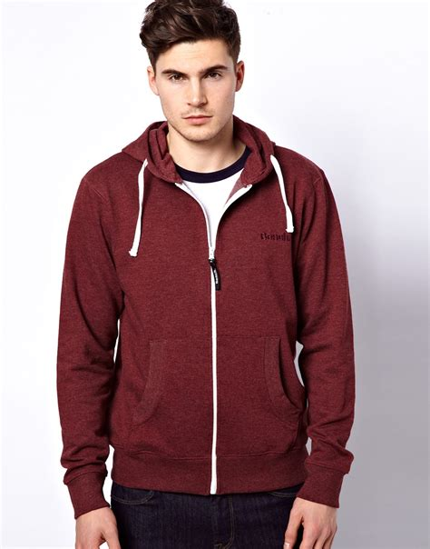 bench mens hoodie bench hoodie zip through in red for men lyst