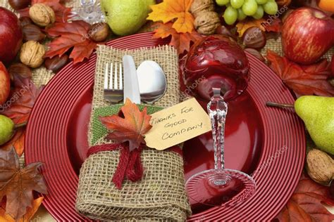 rustic thanksgiving table settings rustic thanksgiving table place setting stock photo