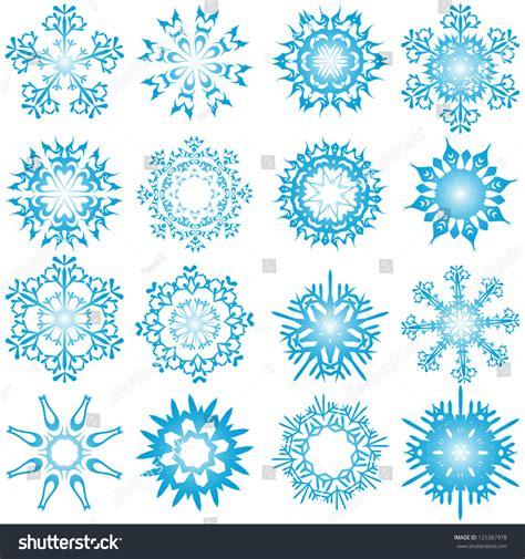 set of winter frozen snowflakes fully editable eps 8