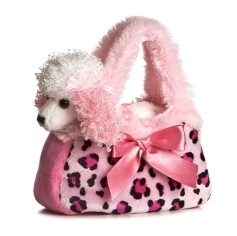 aurora world fancy pals plush pink pet carrier purse