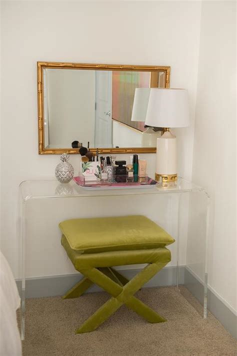 mirror over console clear acrylic vanity design ideas