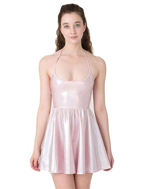 Dress For Withamerican Apparel by American Apparel Shiny Figure Skater Dress Baby Pink
