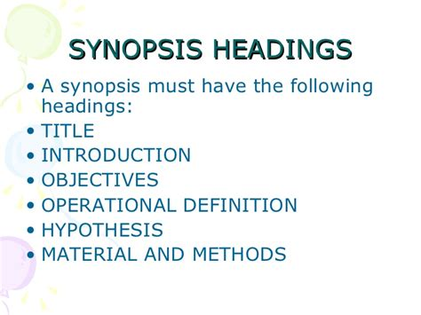 pattern for writing synopsis format of synopsis