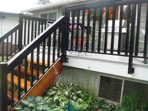 Aluminum Railings For Stairs Vancouver Cedar Stairs Wood Style Aluminum