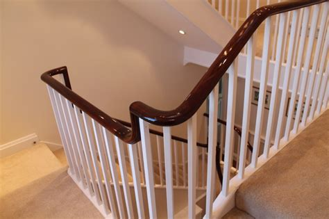 Mahogany Handrails For Stairs stained mahogany handrail putney west traditional staircase by h