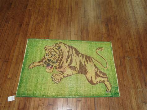tiger rug with vintage turkish pictorial tiger rug for sale at 1stdibs