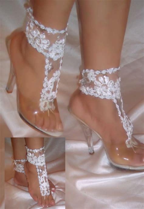 bridesmaid sandals wedding barefoot sandals wedding sandals white lace barefoot