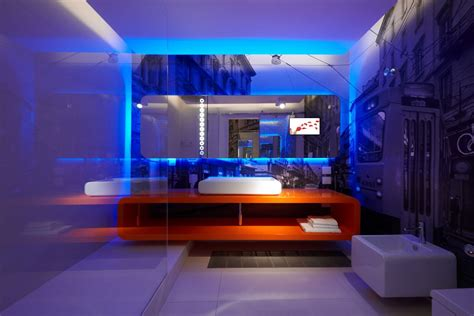 led lighting for home interiors cool blue led lighting for bathroom design with awesome wall background print feat frameless