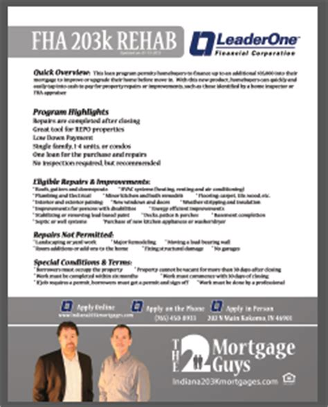 what is a 203k loan indiana 203k mortgages