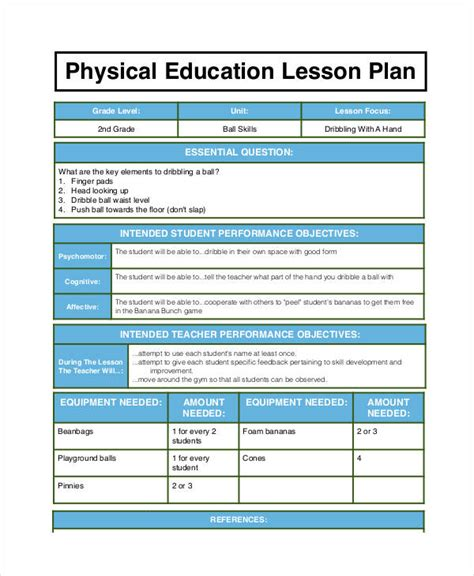 physical education lesson plan template physical education lesson plan template pictures to pin on