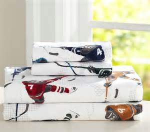 hockey crib bedding lodge hockey flannel sheet set pottery barn