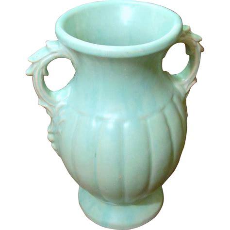 Mccoy Vase Green by Large Vintage Mccoy Pale Blue Green Vase Circa 1940 From