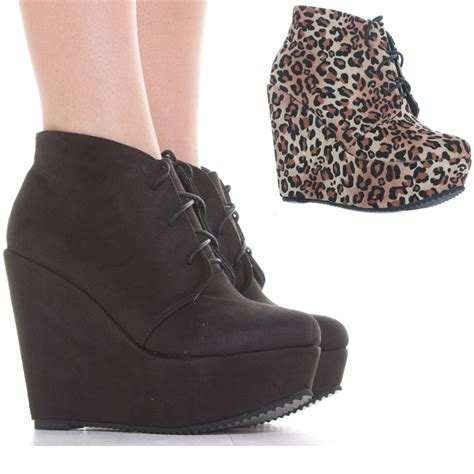 Wedge Platform Ankle Boots wedge shoes lace up booties wedges high heel