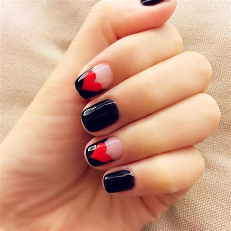 patterned fake nails black and red love pattern fake nails japanese cute false