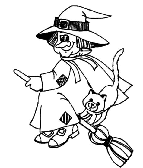 witch spooky and cat cute coloring page halloween