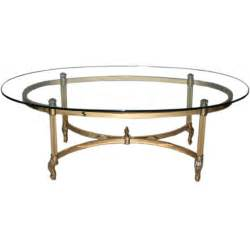 Oval Glass Coffee Table Brass And Chrome Glass Top Oval Coffee Table At 1stdibs