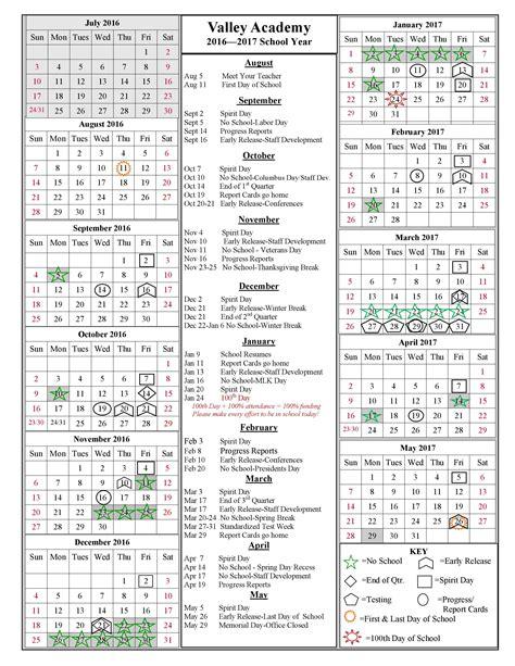Day Of Year Calendar 2017 School Year Calendar 2016 2017 Valley Academy