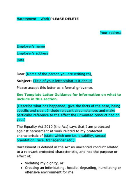 template for grievance letter 37 editable grievance letters tips free sles ᐅ