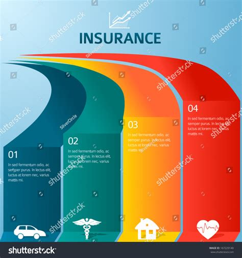 vector insurance style infographic template home stock