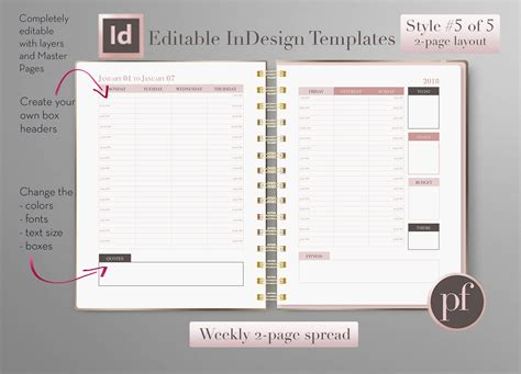 Weekly Layout Pretty Fabulous Designs Blog Indesign Planner Template Free