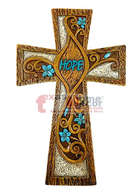 decorative crosses for the home hope turquoise floral decorative wall hanging cross wood