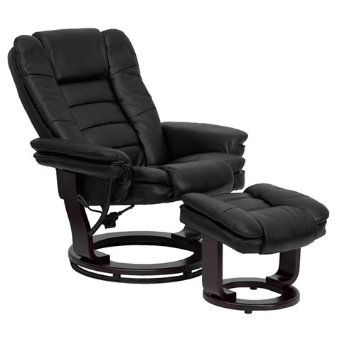 black leather recliner with ottoman flash furniture contemporary black leather recliner