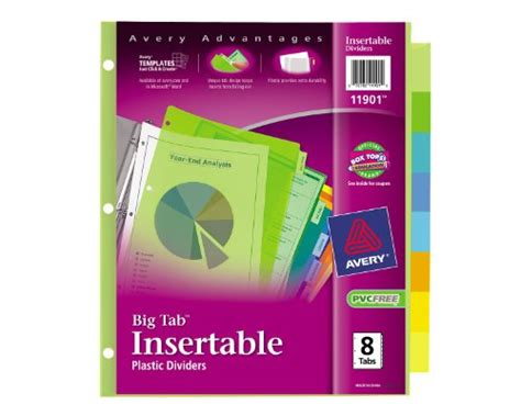 Avery 11907 Template by Avery Big Tab Two Pocket Insertable Plastic Dividers 8