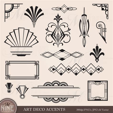 art deco design digital clipart art deco design elements frames borders